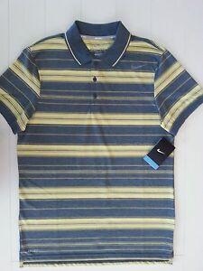 New Nike Men's Tennis Polo Shirt Gray/Yellow Size M Polyester Blend 551591