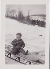 Old Vintage Antique Photograph Adorable Baby Sitting on Sled in Snow