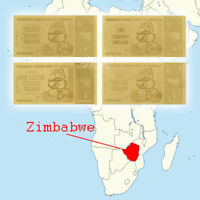WR Full Set Zimbabwe 10/20/50/100 Trillion Dollars GOLD Banknote + Certificate