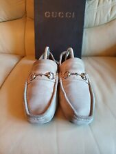 Gucci Mens Beige Suede Driving Shoes Horsebit Loafers UK  7.5  US 8.5   EU 41.5