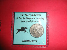 Gift for a man Horse Racing lucky silver sixpence good luck gift