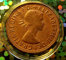 1964 Brown Golden Red Australia Half Penny, Elizabeth II w HOLDER.