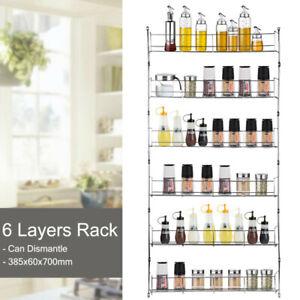 6 Tier Steel Spice Rack Herb Jars Holder Cabinet Shelf Storage Wall Organization