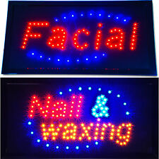 2 Bright Facial & Nail and Waxing LED Light Open Salon SPA Business Signs neon