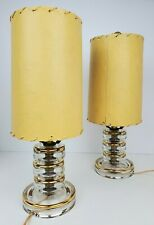 (2) Vintage Mid Century Deco Clear Stacked Glass Small Atomic Lamps Gold Trim