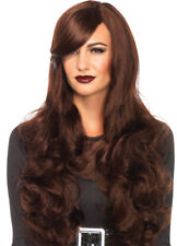 Long Wavy Brown Curly Hair Wig With Adjustable Strap Leg Avenue