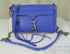 NWT REBECCA MINKOFF Mini MAC Leather Shoulder Crossbody Bag Ultraviolet/Silver