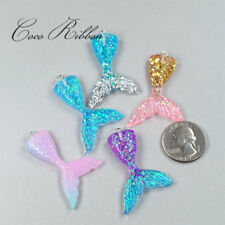 10pc Gradient Pastel Rainbow Glitter 3D Mermaid Tails Fairy Charm Pendant G04