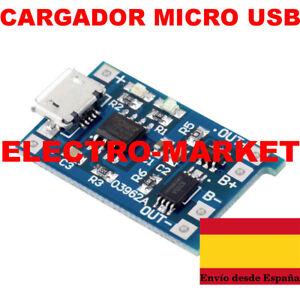 MODULO CARGADOR MICRO USB PARA BATERIAS DE LITIO 5V 1A-TP4056 version mejorada