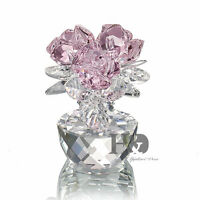 Light Pink Crystal Rose Handmade Clear Glass Base Figurine Boxed Valentine Gift