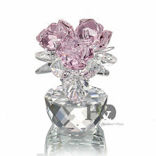 Sparkle Handmade Pink Crystal Rose Figurine Glass Xmas Gift Ornaments with Box