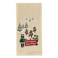 Christmas at Camp Bearfoot Happy Holidays Bears & Cubs Cotton Dish Towel