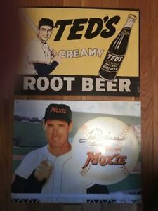 LOT OF 2   TED WILLIAMS Baseball Tin Metal Classic Signs Moxie, Creamy Root Beer