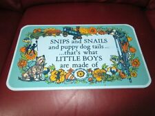 Vintage Baby Boy Wall Plaque Sign Handcrafted 1971 Yorkraft Snips and Snails EUC