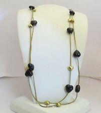 "46.5"" Pilgrim Jewelry Black & Brass Hearts on Brass Chain Necklace: 362141 C"
