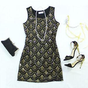 SZ 8-16 S-XXL GREAT GATSBY 1920s BLACK GOLD SEQUIN DECO CHARLESTON FLAPPER DRESS