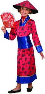 Childs Asian Princess Geisha Dress Kimono Hat Japanese Girls Halloween Costume