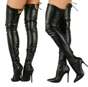 45/46/47 Women's Nightclub Pointy Toe Stilettos Heel Over The Knee High Boots L