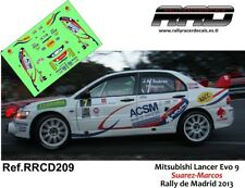 DECAL/CALCA 1/43; Mitsubishi Lancer Evo 9; Suarez-Marcos; Rally de Madrid 2013