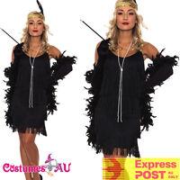 Black 1920s 20s Flapper Charleston Fancy Dress Gatsby Costume Cigarette Boa
