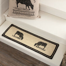 VHC Brands Sawyer Mill Farmhouse Charcoal Jute Cow Stair Tread Rect Latex 8.5x27