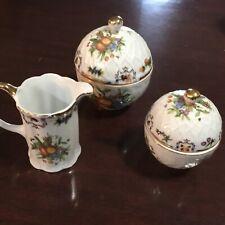 Christmas Godinger 24KGilt Porcelain ,  3 piece Tea Set Creamer Sugar Tea Caddy