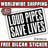 loud pipes save lives sticker 130mm x 90mm approx ratlook hoodride vw dub