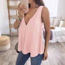 Women V Neck Tank Top Cami Sleeveless T-Shirt Summer Vest Blouse Plus Size S-5XL