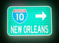 NEW ORLEANS Interstate 10 route road sign - Louisiana, DOTD, Mardi Gras, Saints