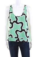 Diane Von Furstenberg Womens Silk Sleeveless Printed Tank Top Green Size 10