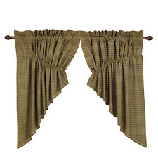 "Tea Cabin Plaid Prairie Swag by VHC Brands - 36"" x 36"" Lined Curtain Set"