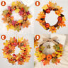 Halloween Thanksgiving Fall Pumpkin Flower Maple Leaves Wreath Front Door
