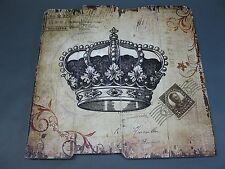 Holzbild Wandbild Bild  vintage chabby chic  Krone 40 cm x 40 cm Holzplatte