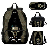 Bravely Coraline Print Backpack School Cooler Bags Sling Bags Pen case Gifts Lot