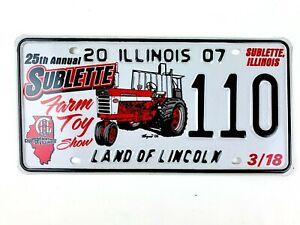 Tractor Picture License Plate Art 2007 Special Event Sublette IL Man Cave Gift