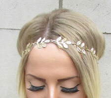 Gold Leaf Headpiece Festival Garland Olive Laurel Elastic Headband Boho Vtg 1550