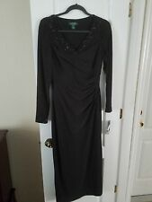 NWT BLACK NEUTRAL LAUREN BY RALPH LAUREN EVENING LONG SLEEVE WOMENS DRESS SIZE 8