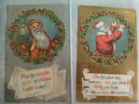 Pair of Vintage Christmas Santa Claus Antique Postcards Silver Gold Wreath Holly