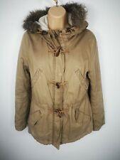 WOMENS LOGG H&M LIGHT BROWN ZIP FAUX FUR HOODED PARKA SHERPA TOGGLE COAT UK 10
