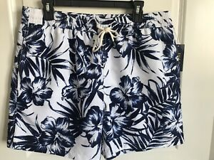 Polo Ralph Lauren mens navy white tropical floral swim shorts trunks XL NWT $79