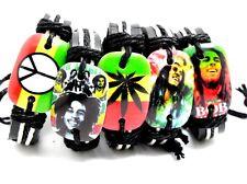 5 X mix Bob Marley peace leaf Leather Bracelets Men Fashion Wristbands lots