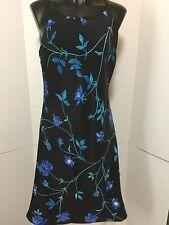 DBY Ltd Size 12 Dress Black Floral Polyester Asymmetrical Hem Spaghetti Straps