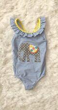 Mini Boden Girls Bow Detail Swimsuit 3-6 Months Blue Stripe Elephant Ruffle