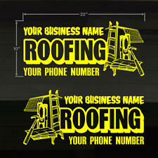 "Roofing Roofer Set of 2 YOUR TEXT Door/Window LG 22X10"" YELLOW Decal Stickers"