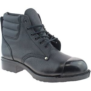 EXTERNAL STEEL TOE CAP SAFETY BOOTS LEATHER HEAT RESISTANT SOLE WELDING GRINDING