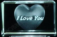 Crystal Glass Laser Etched I Love You Heart Ornament BNIB (sb45)