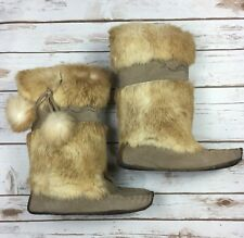 J Crew Leather Fur Moccasin Boots Womens Size 6 Tan Suede Flats Shoes