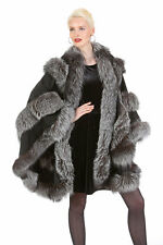 Silver Fox Fur Trimmed Black Cashmere Cape for Women - Empress Style