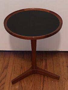 Hans Andersen Teak Pedestal Side Table Black Top Mid Century Danish Modern
