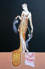Erte 1987 JULIET in LEOPARD ANIMAL PRINT GOWN and JEWELS Art Deco Matted Print